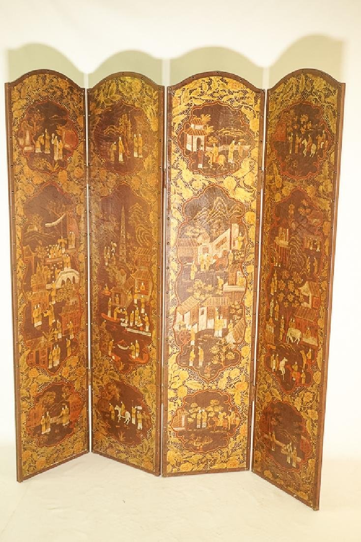 Chinese Decorative Four Panel Screen - 3