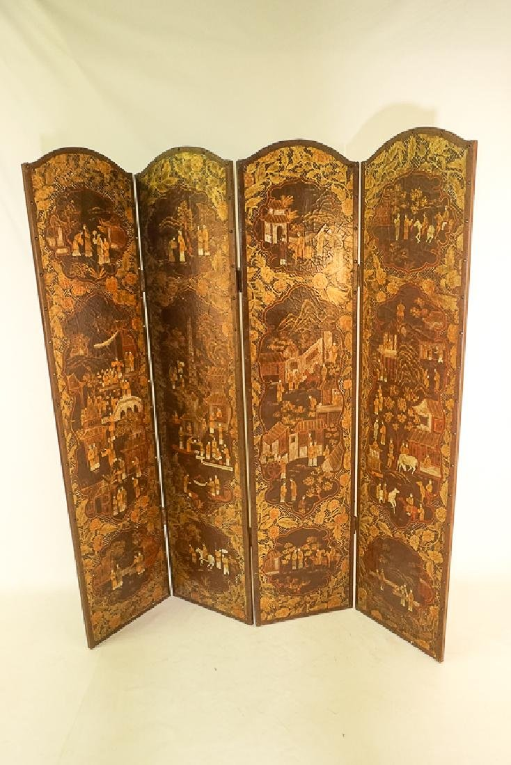 Chinese Decorative Four Panel Screen - 5