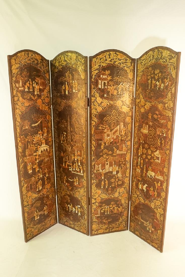 Chinese Decorative Four Panel Screen - 6