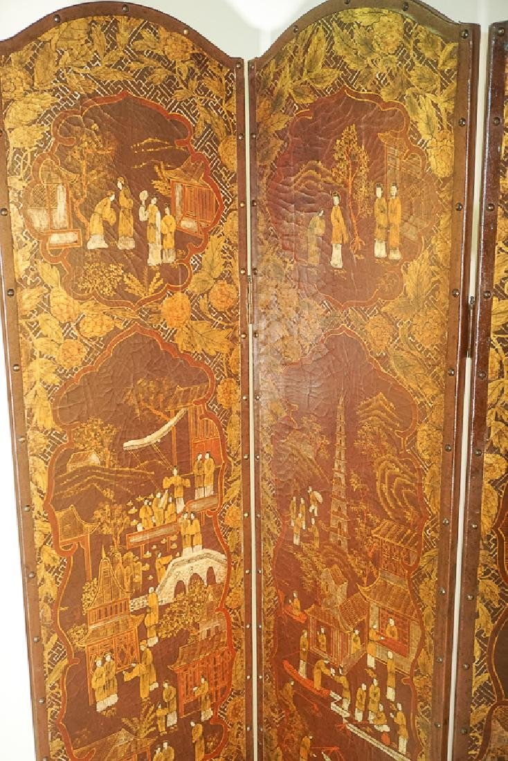 Chinese Decorative Four Panel Screen - 7