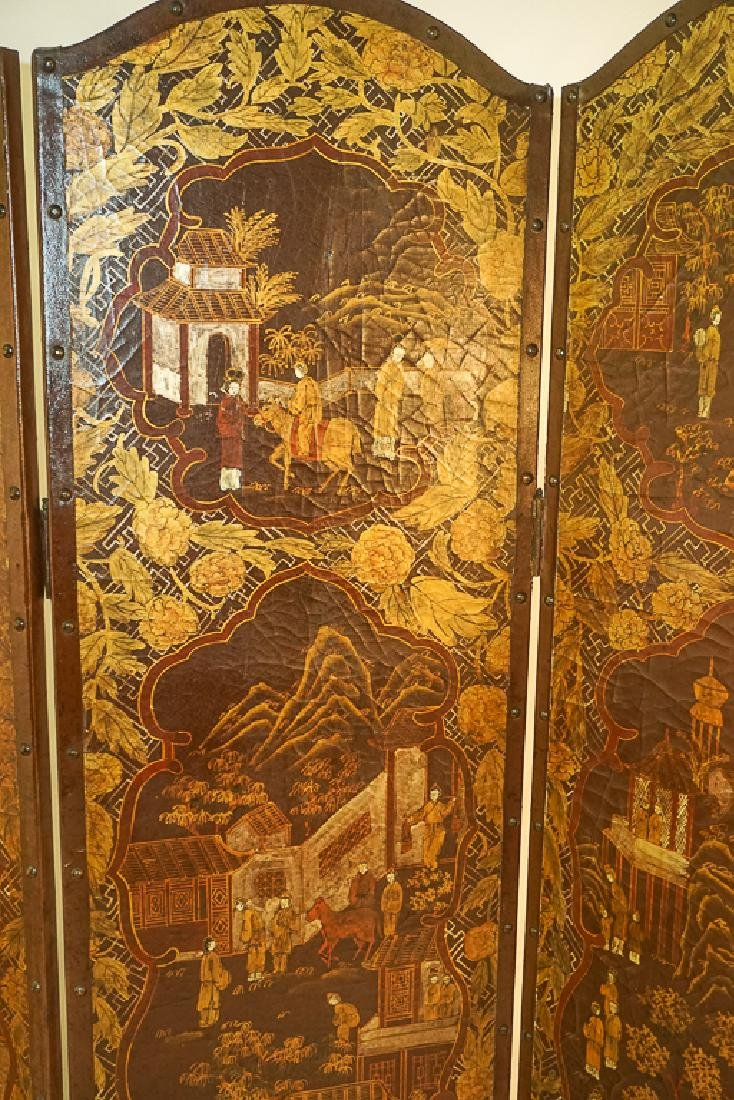 Chinese Decorative Four Panel Screen - 8