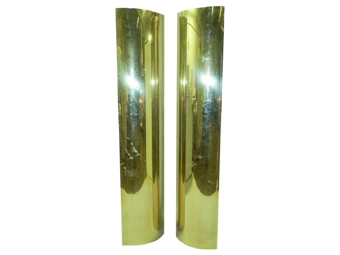 Pair Brass Clad Columns