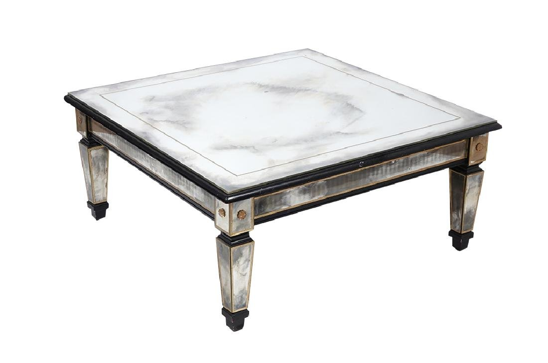 HOLLYWOOD REGENCY Antiqued Mirror Coffee Table