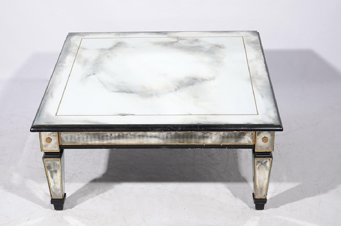 HOLLYWOOD REGENCY Antiqued Mirror Coffee Table - 3