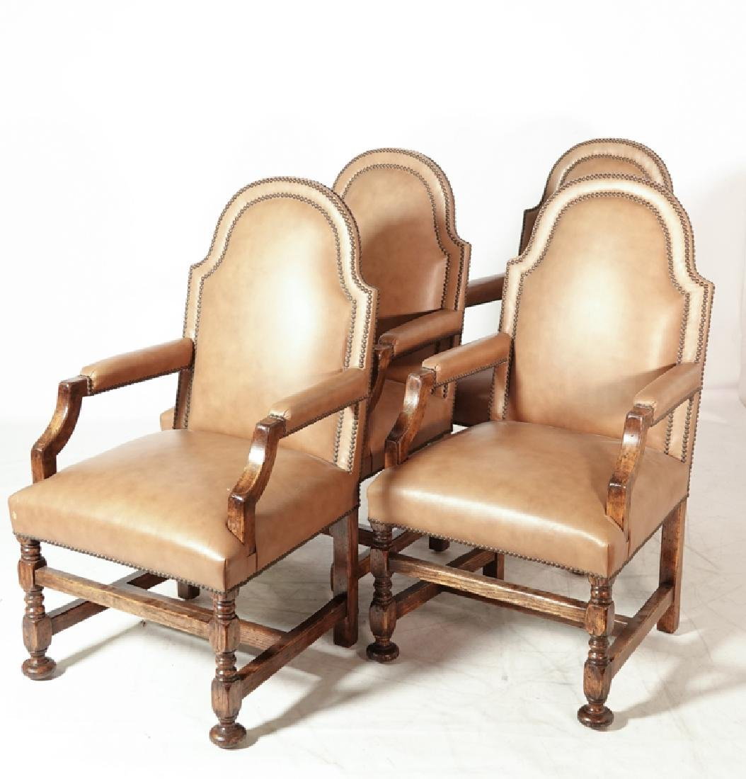 Set of Four W & M Style Leather Armchairs