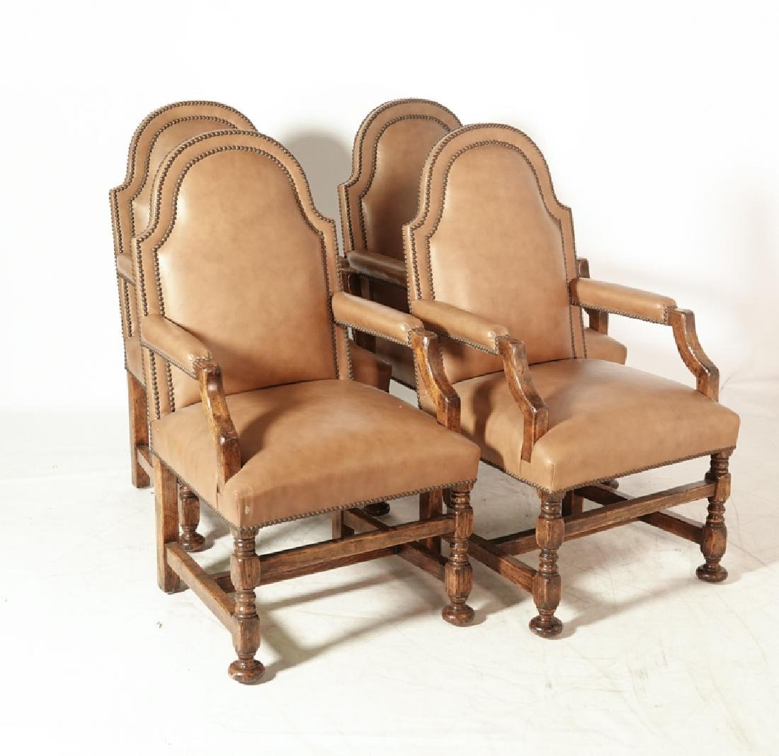 Set of Four W & M Style Leather Armchairs - 2