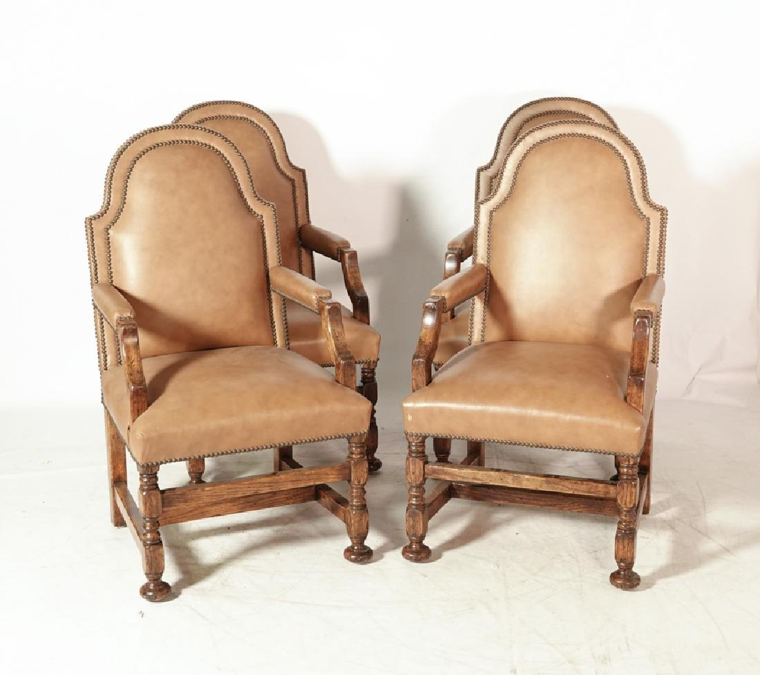 Set of Four W & M Style Leather Armchairs - 3