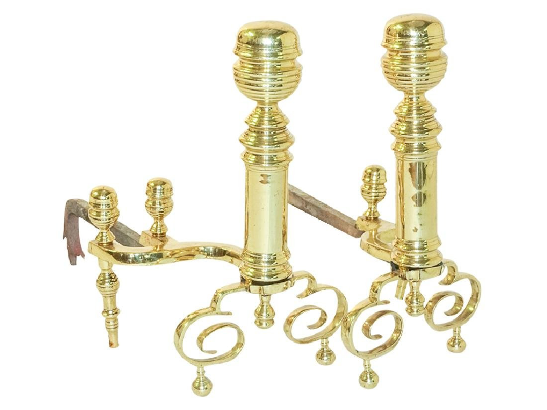 19th Brass Andirons