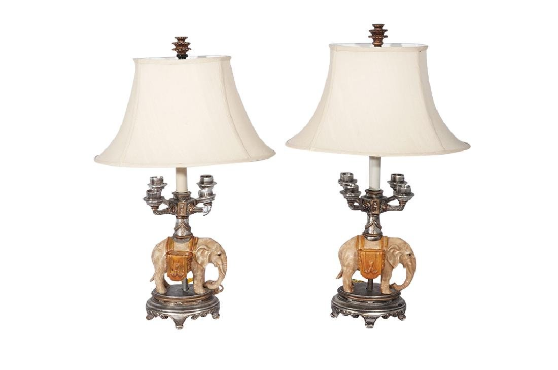 Pair of Novelty Elephant Lamps