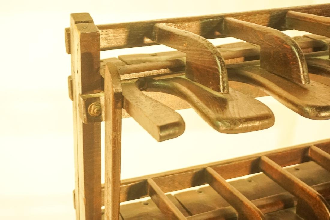Vintage Wooden Boot Rack - 6