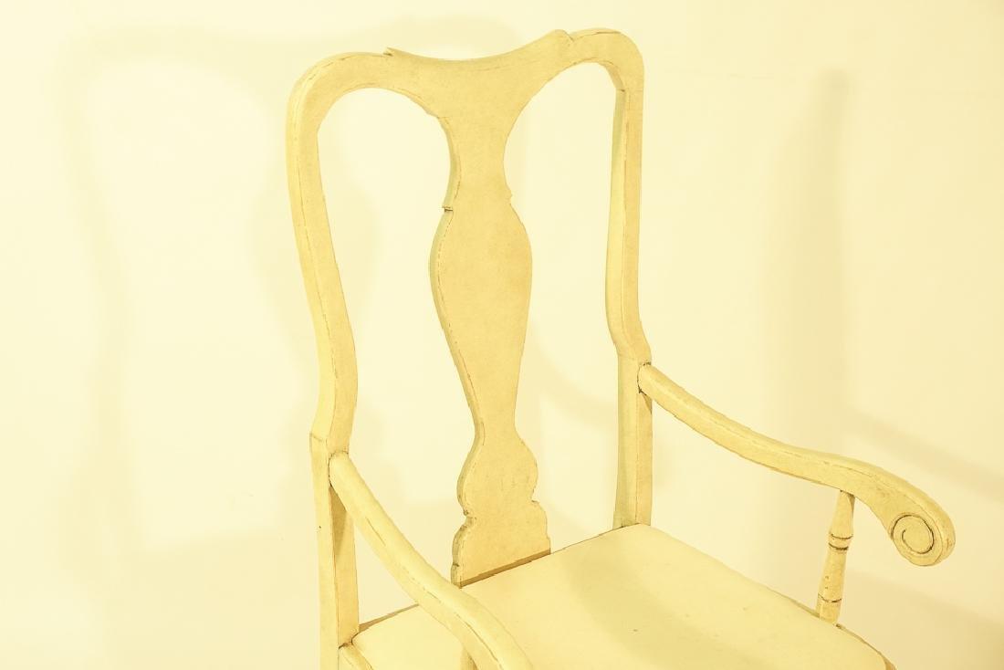 Swedish Gustavian Style White Painted Armchair - 2