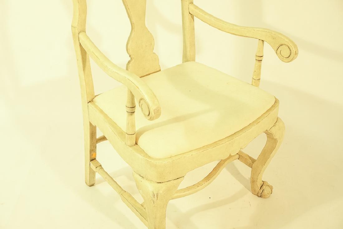Swedish Gustavian Style White Painted Armchair - 3