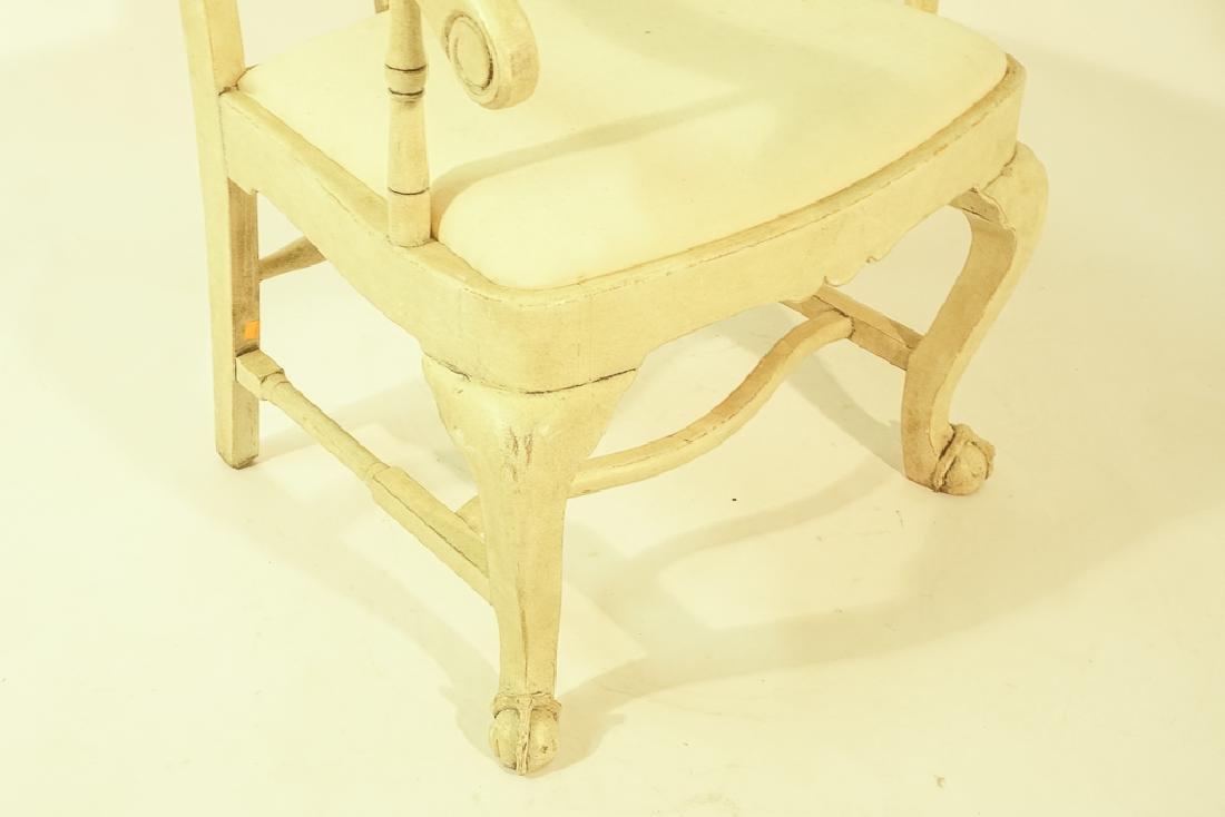 Swedish Gustavian Style White Painted Armchair - 4