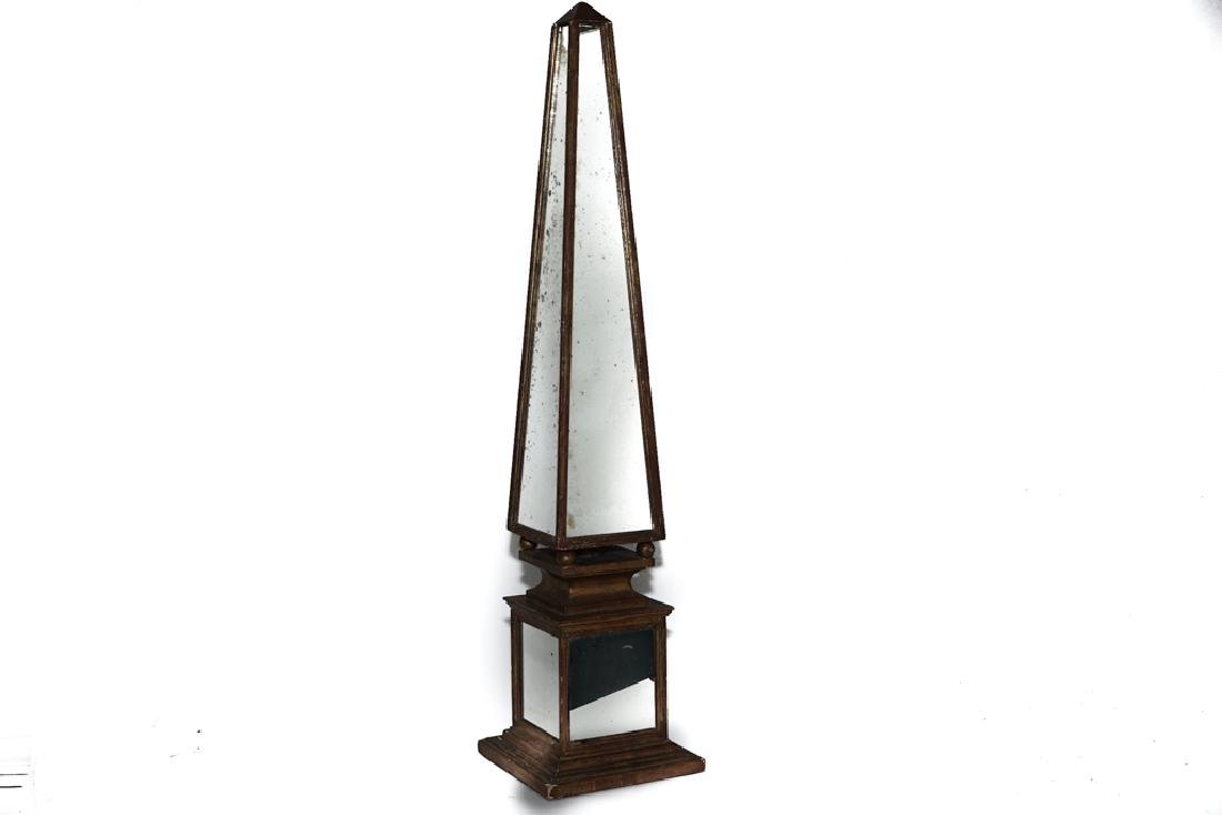 HOLLYWOOD REGENCY Mirrored Obelisk