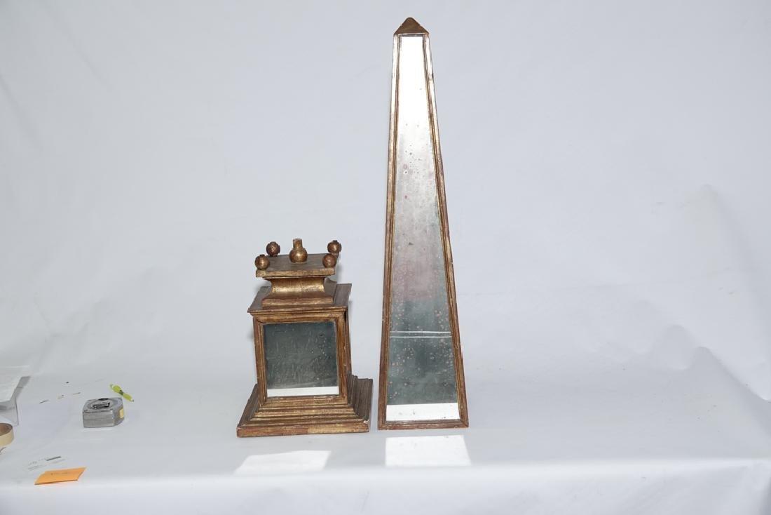 HOLLYWOOD REGENCY Mirrored Obelisk - 2