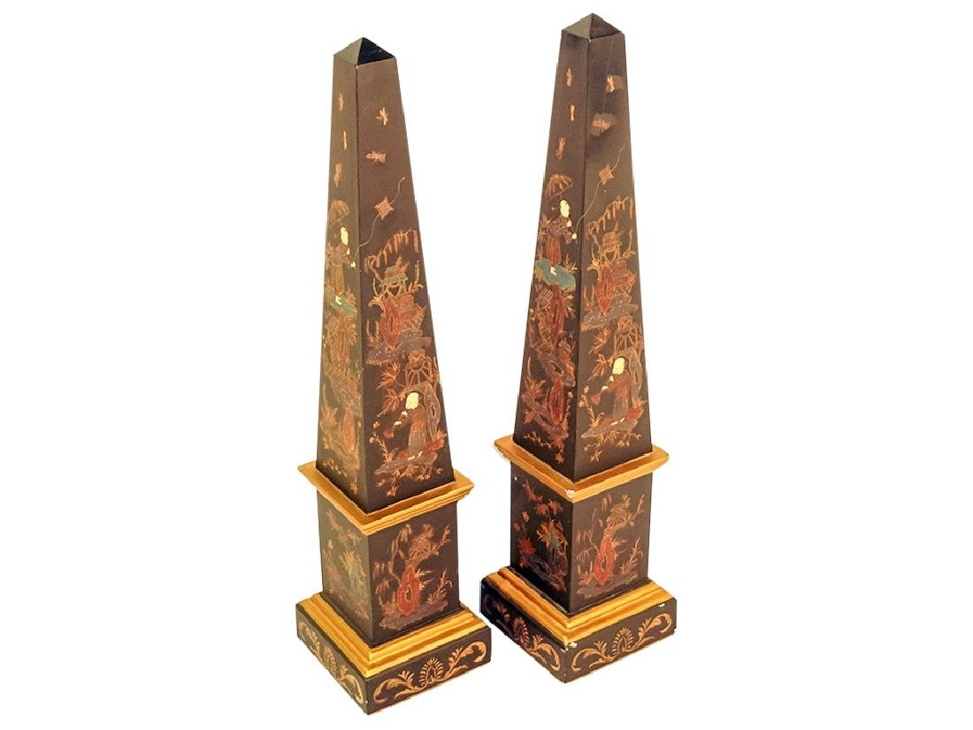 Pair of Contemporary Oriental Obelisks