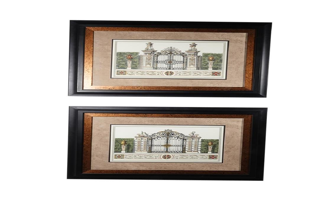 Pair Framed  Engravings of  Gates