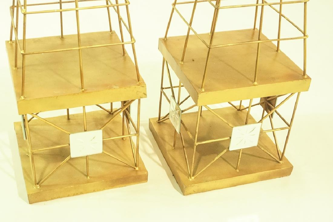 Pair Mid Century  Brass Obelisks - 3