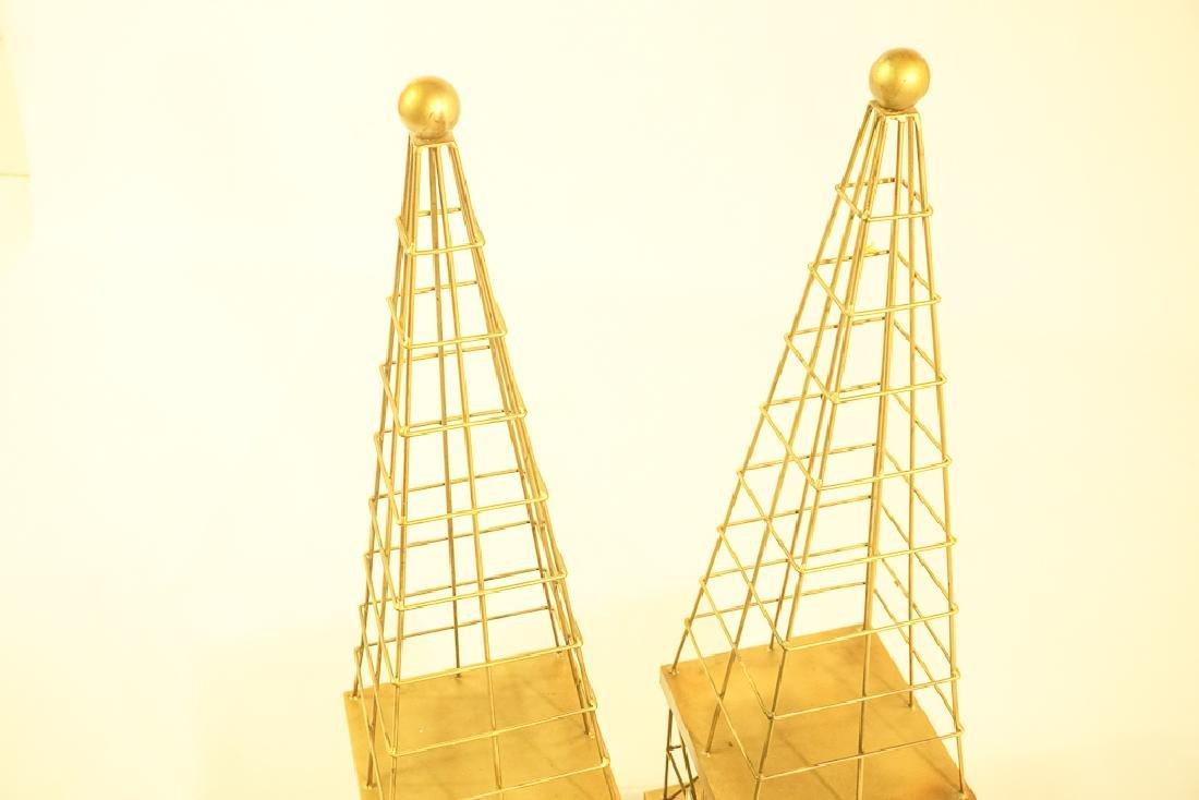Pair Mid Century  Brass Obelisks - 4