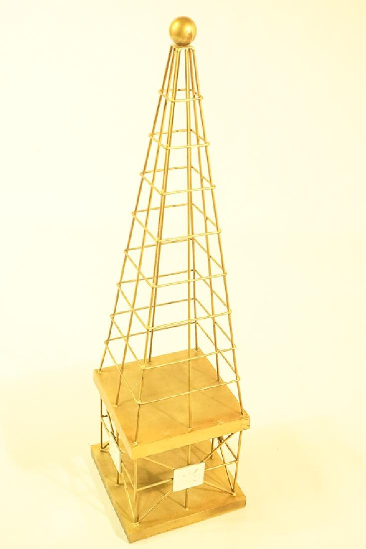 Pair Mid Century  Brass Obelisks - 5