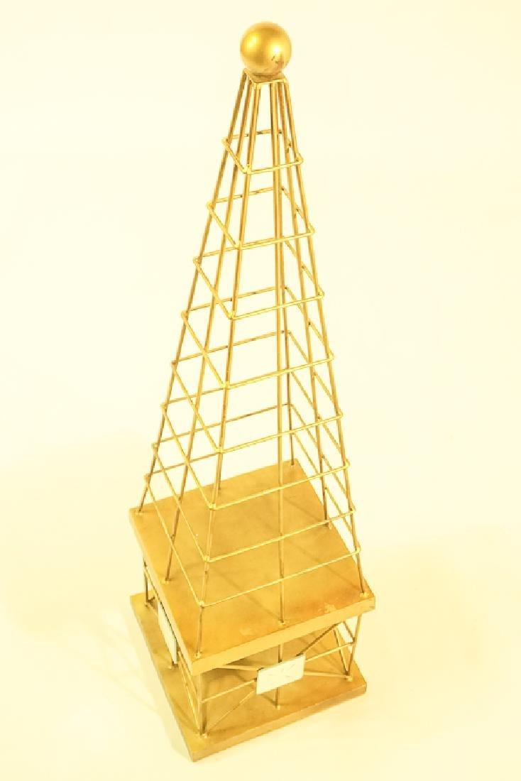 Pair Mid Century  Brass Obelisks - 6