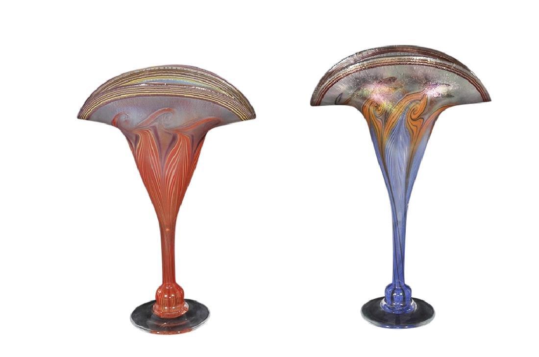 Pair of VANDERMARK Art Glass Vases - 3