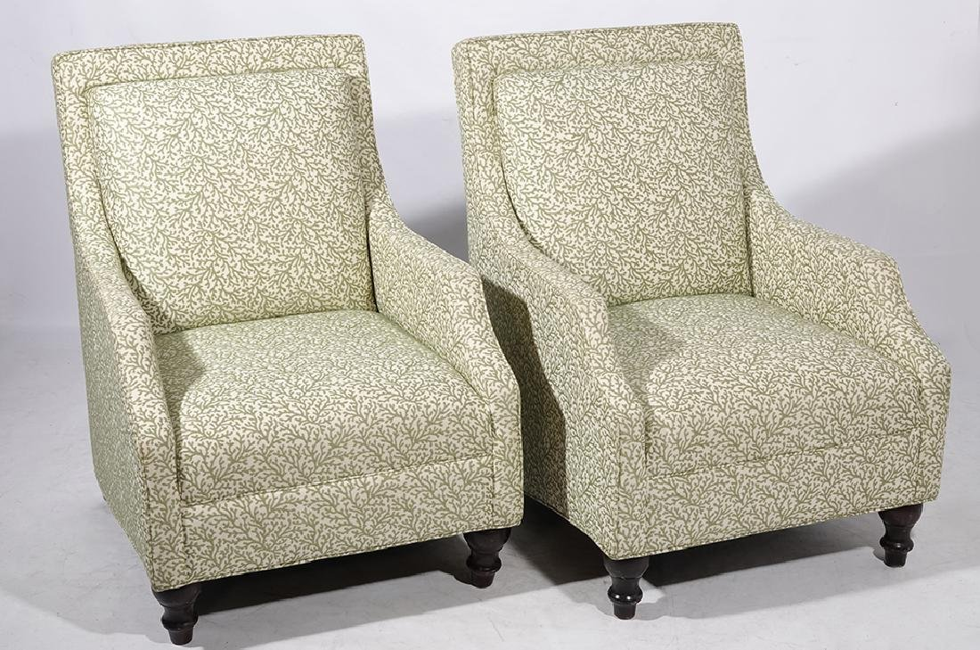 Pair Upholstered Club Chairs