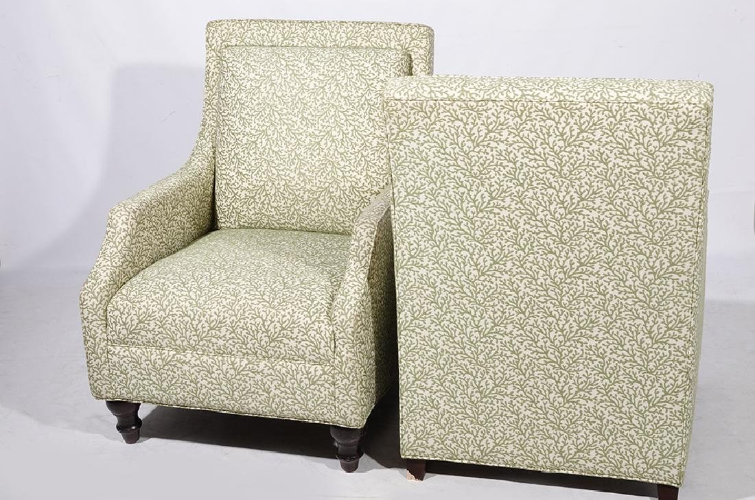 Pair Upholstered Club Chairs - 7