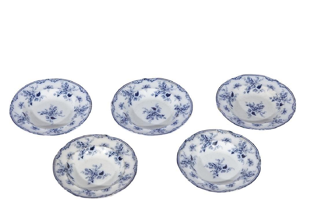 Set of Five (5) Bowls in Blue Flow Porcelain