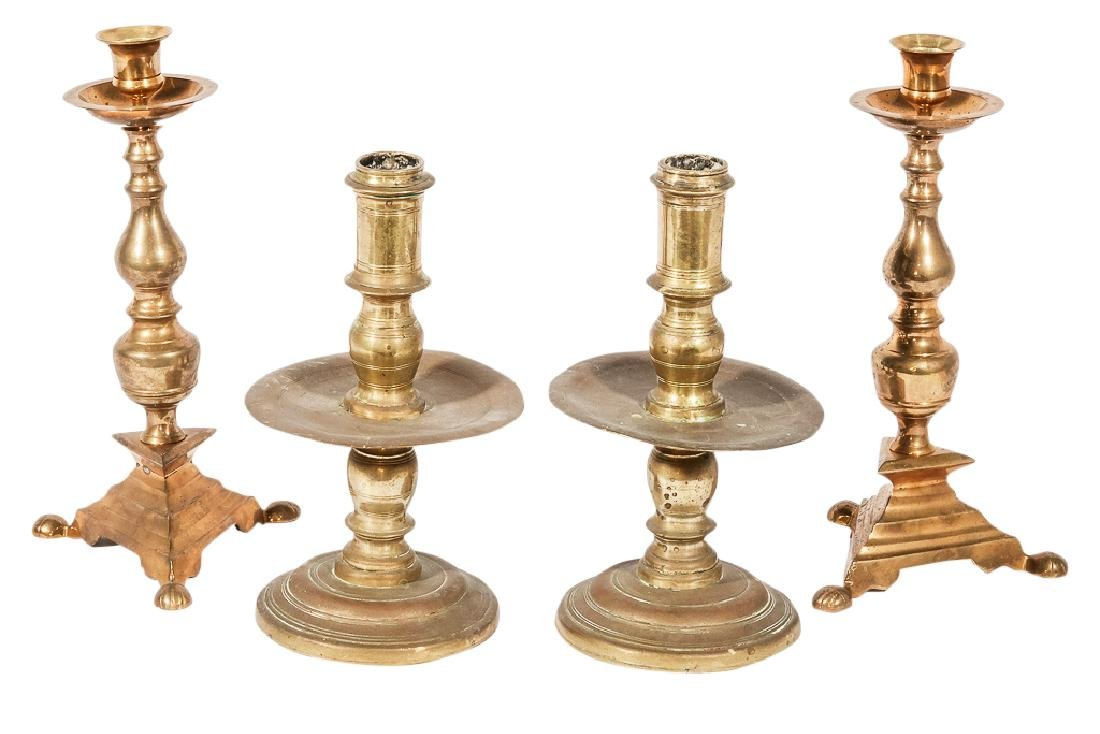 Two (2) Pairs of Brass Candlesticks