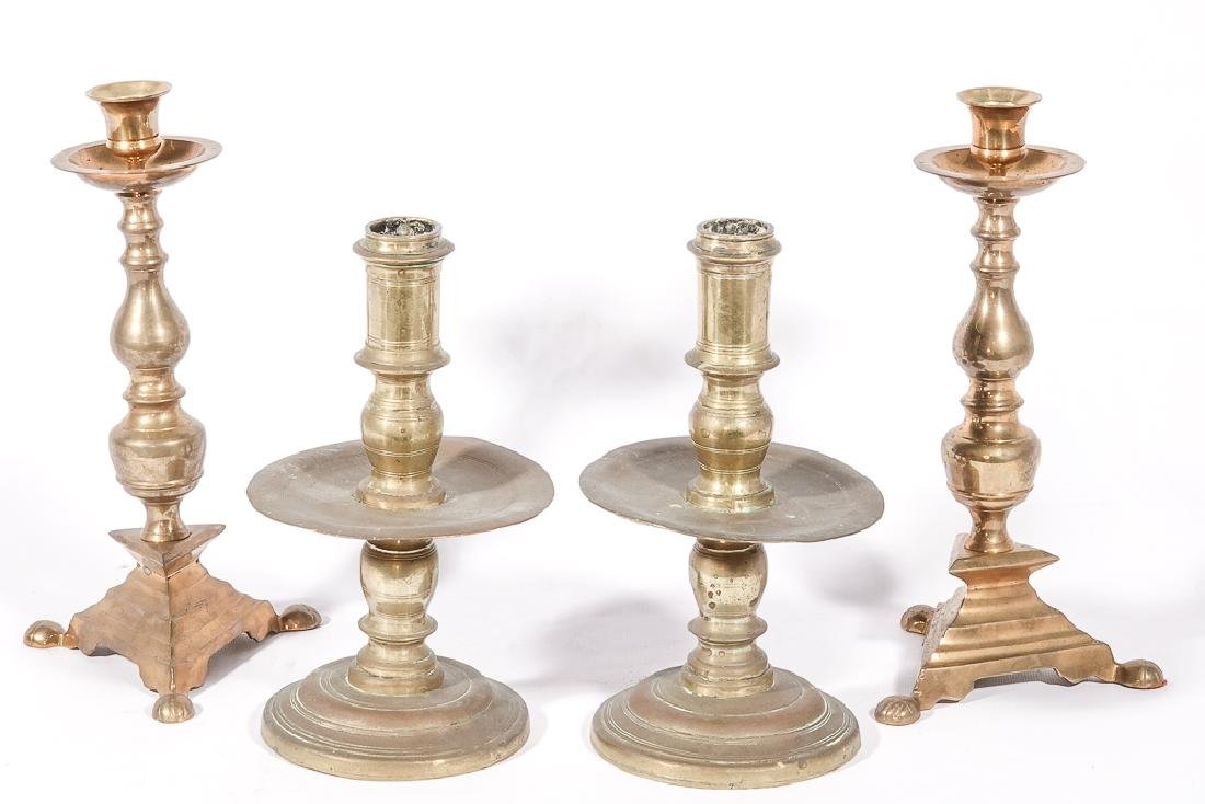 Two (2) Pairs of Brass Candlesticks - 2