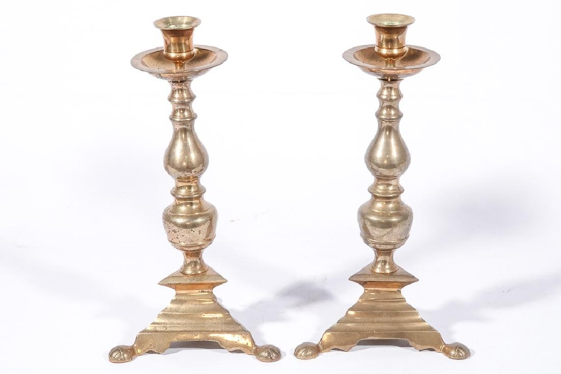 Two (2) Pairs of Brass Candlesticks - 8