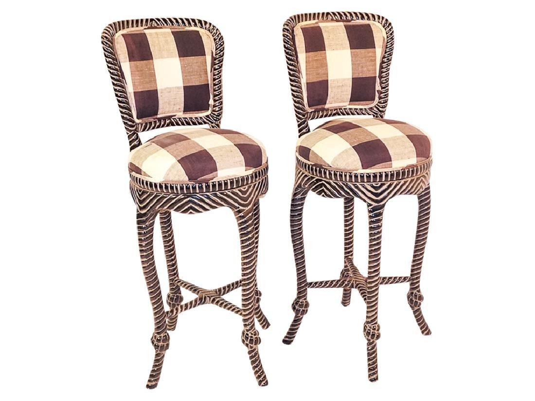 Pair Napoleon III Style Bar Stools