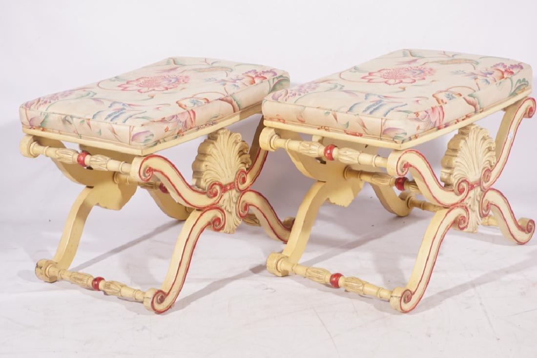 KARGES Pair Regency Style Painted Stools