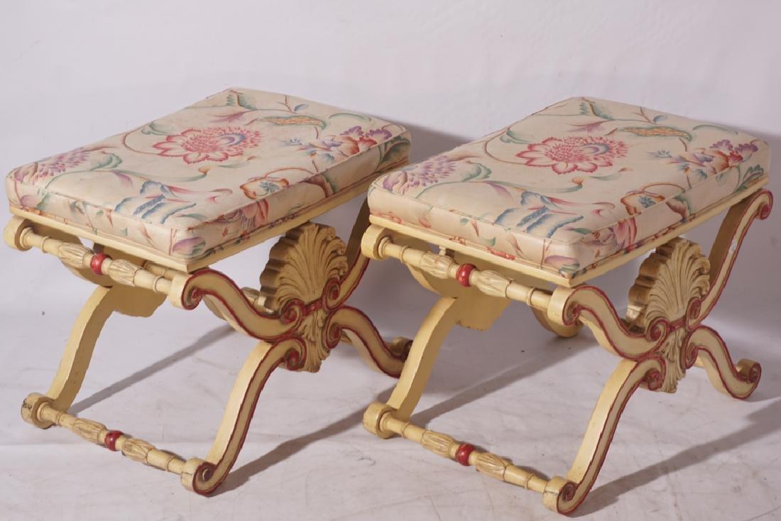 KARGES Pair Regency Style Painted Stools - 9