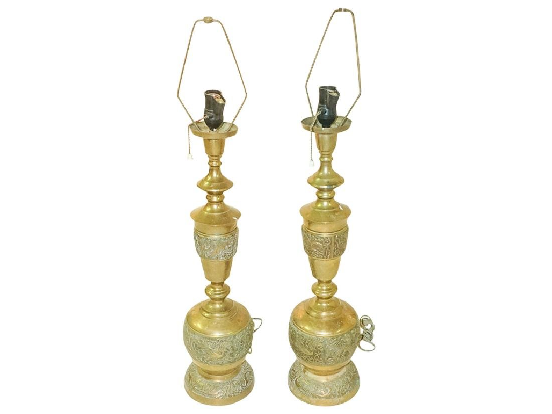 Pair of Chinese Brass Lamps
