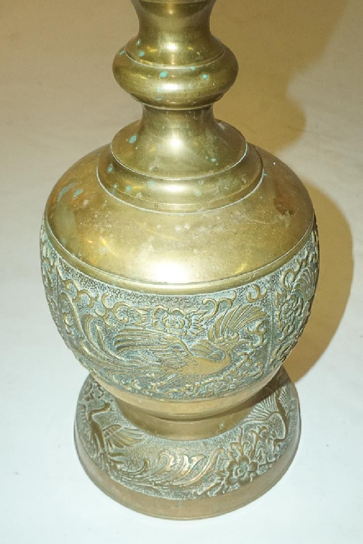 Pair of Chinese Brass Lamps - 6