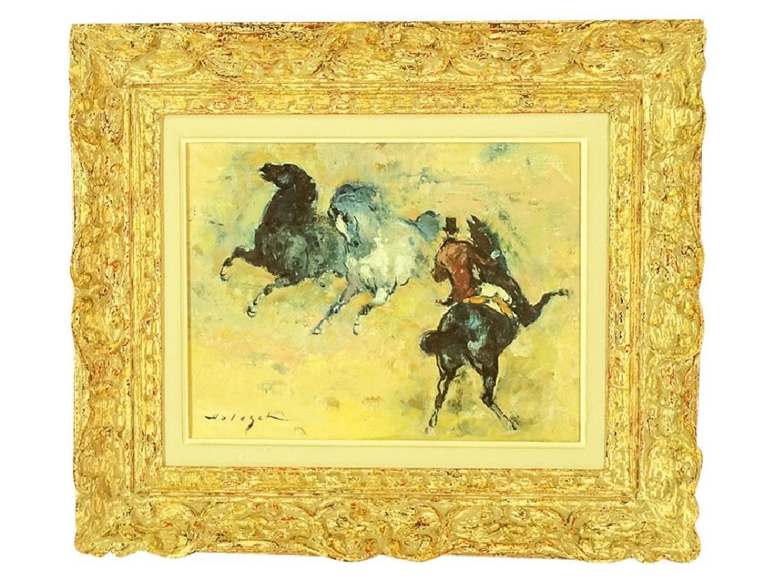 "20th C School, ""Horses with Rider"""