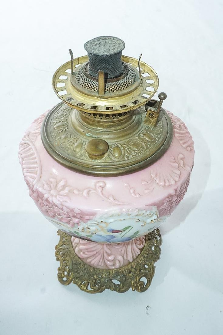 19th c Pink Oil Lamp - 10