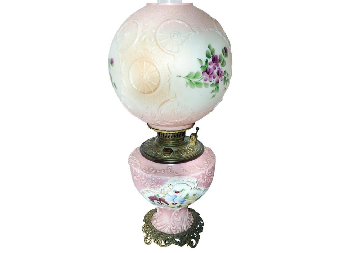 19th c Pink Oil Lamp