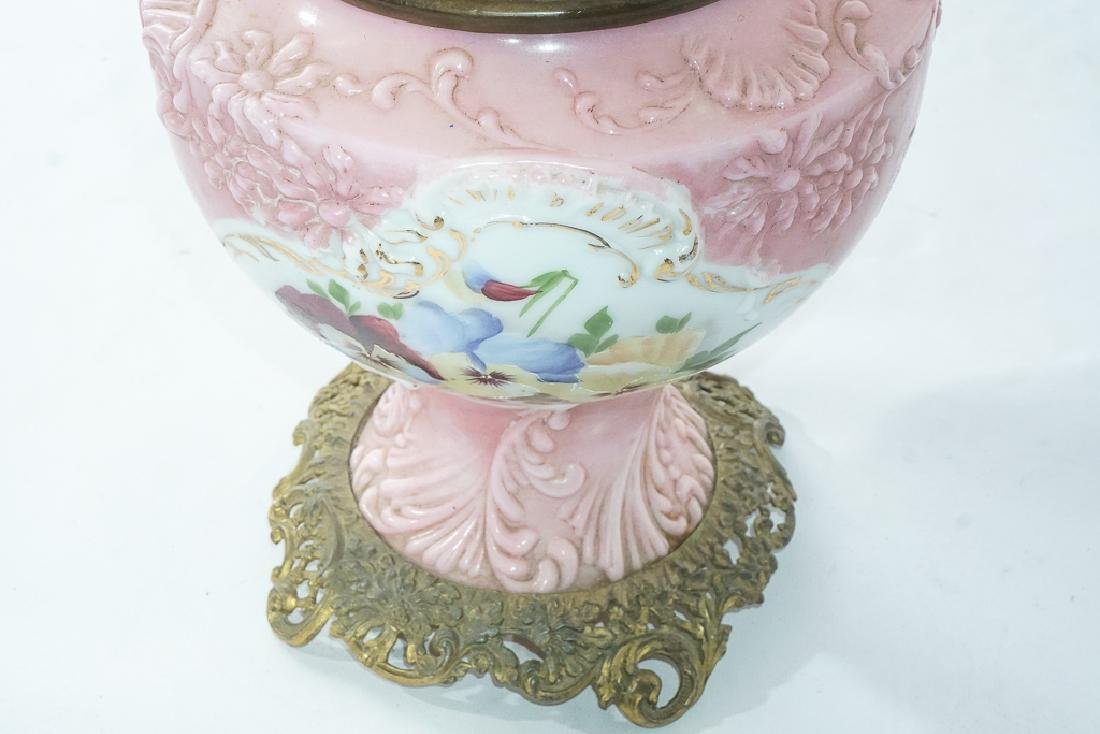 19th c Pink Oil Lamp - 3