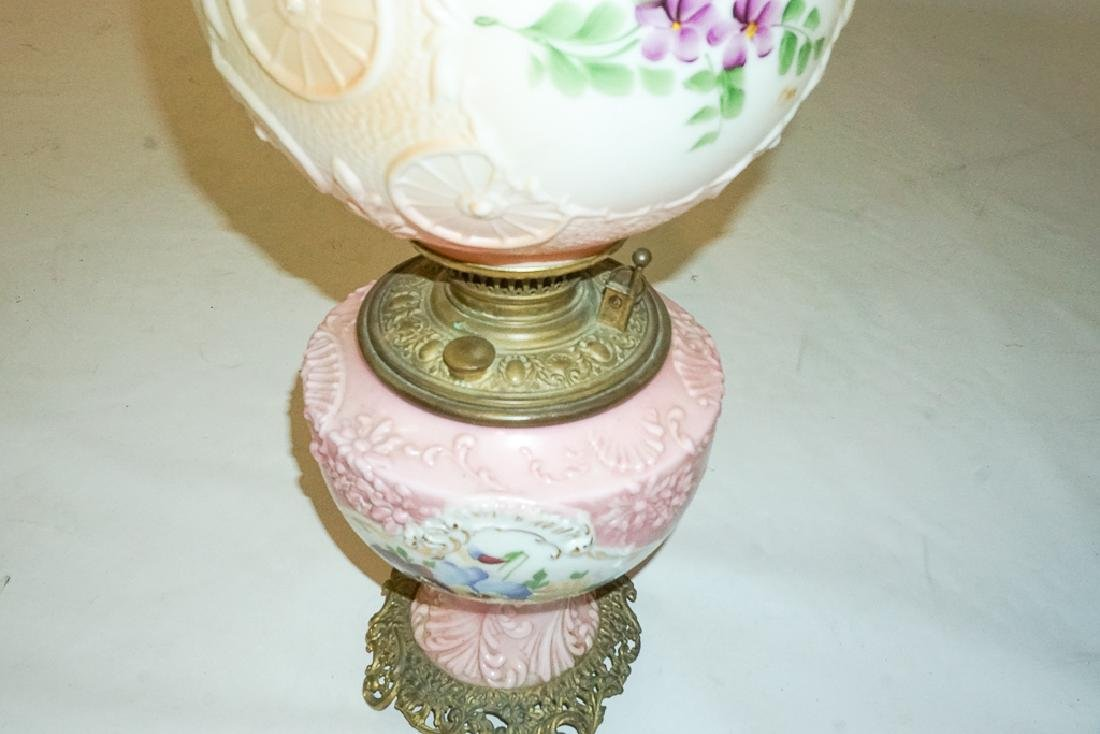 19th c Pink Oil Lamp - 4
