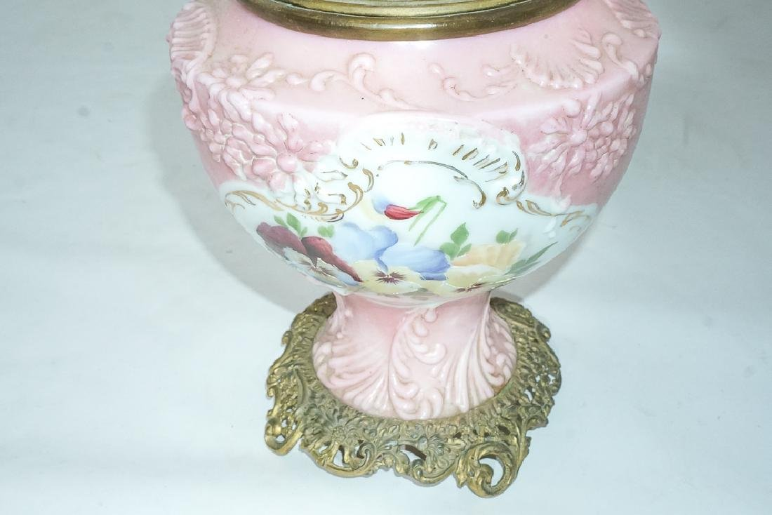 19th c Pink Oil Lamp - 6