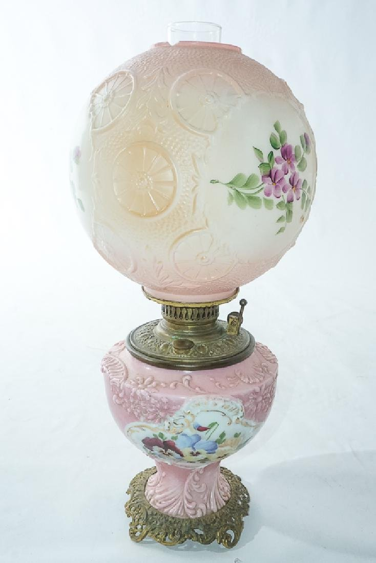 19th c Pink Oil Lamp - 8