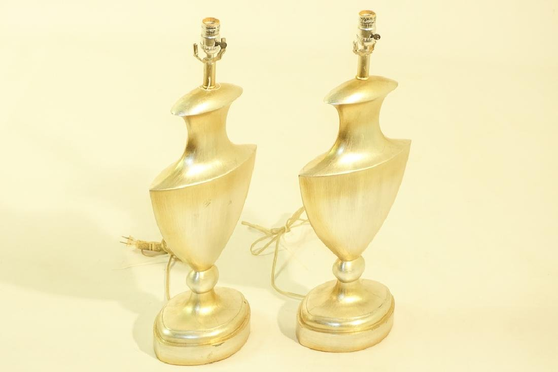Pair Contemporary Silver Finish Lamps - 2