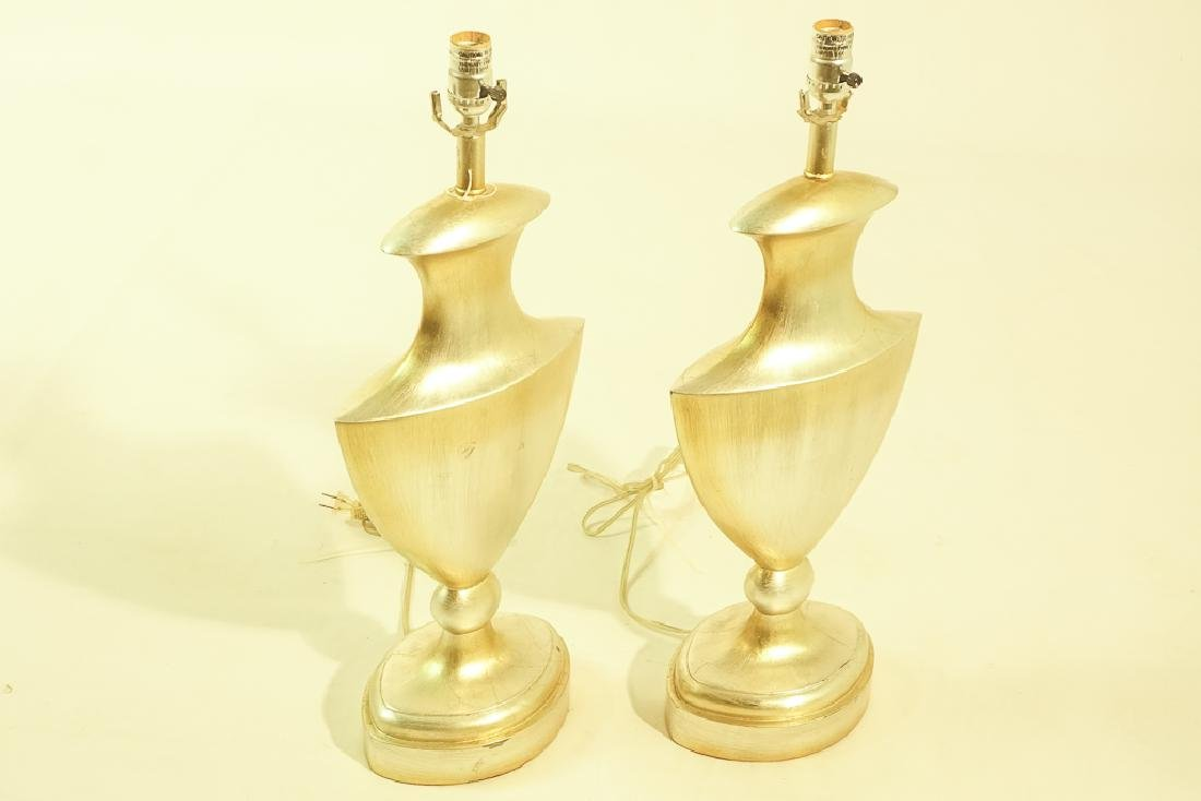 Pair Contemporary Silver Finish Lamps - 3