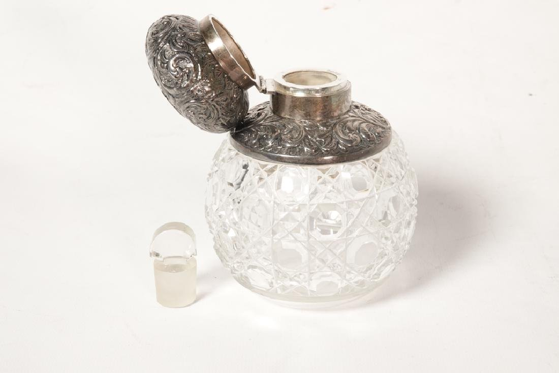 19th English Sterling  & Crystal Perfume Bottle - 3