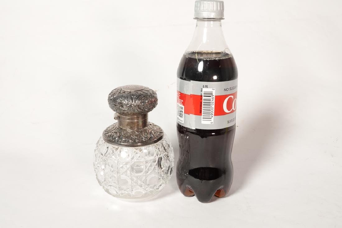 19th English Sterling  & Crystal Perfume Bottle - 5