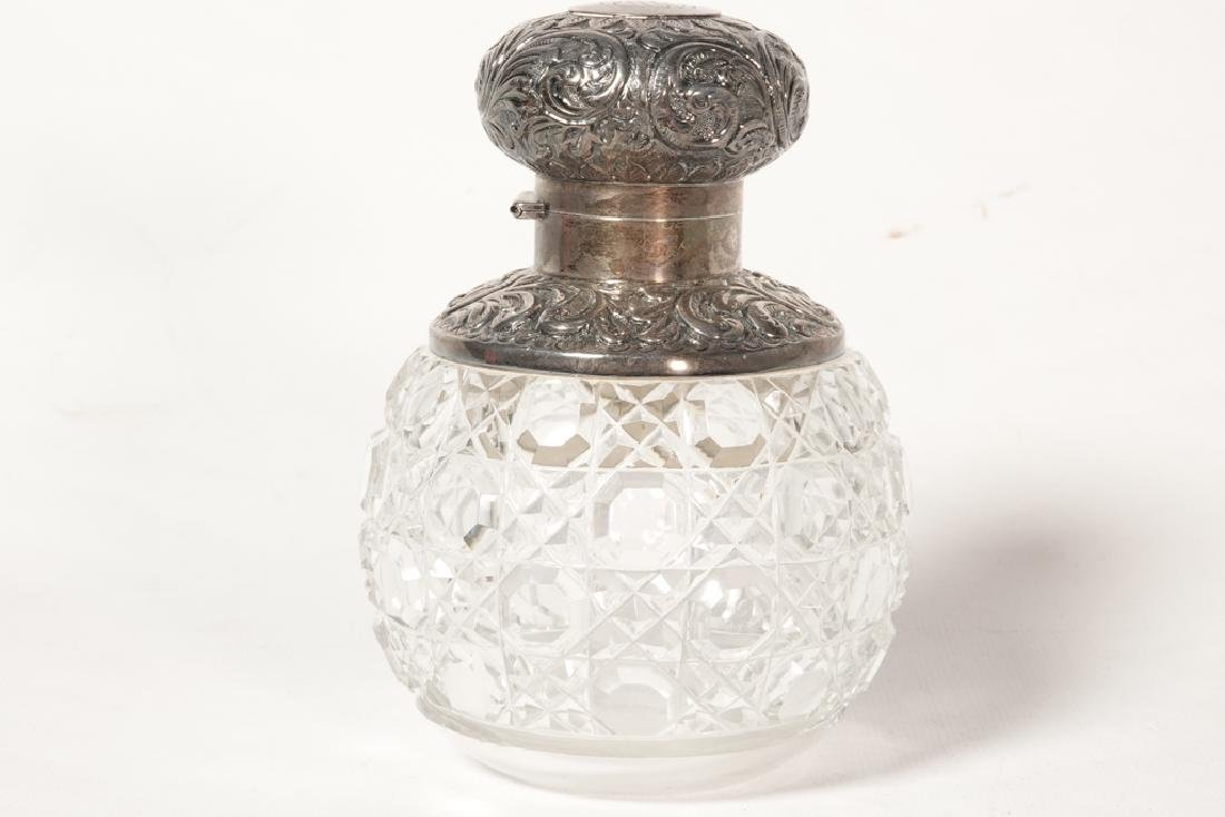 19th English Sterling  & Crystal Perfume Bottle - 6