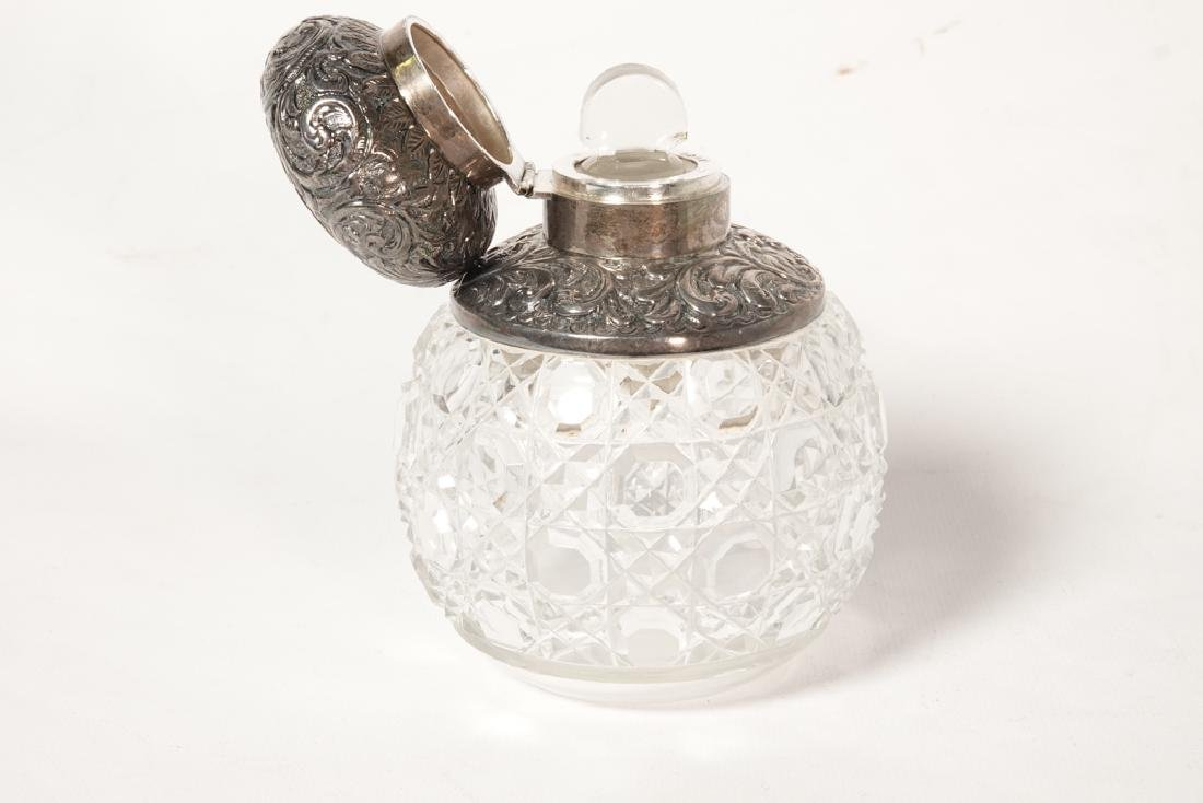 19th English Sterling  & Crystal Perfume Bottle - 7